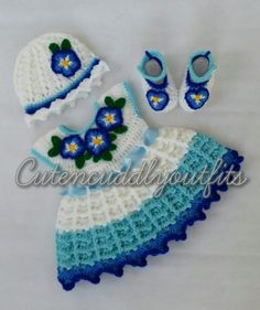 Forget Me Not Crochet baby dress Pattern by CutenCuddlyOutfits