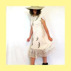 Tattered Lace Swallow Dress #fairtrade #wearableart #teastained cotton #etsyshop #handmadedress #tatteredlace