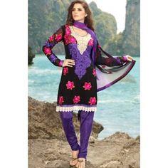 Purple Net & Faux Georgette Salwar Kameez