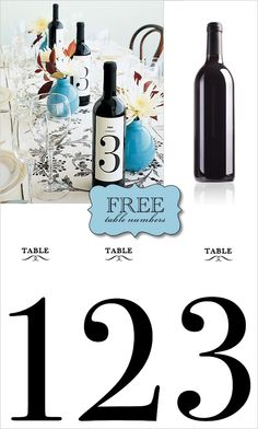 free printable wine labels! Great for table numbers!!