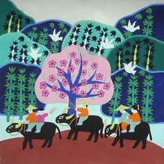 农民画-装饰画手工画-外贸加工余单特价放牛回来