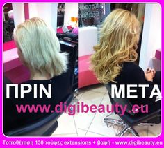 Very successful renewal appearance by placing 130 extensions with keratin, color change to blonde honey and hairdo. See more at www.digibeauty.eu