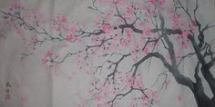 Cherry blossoms ink painting