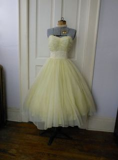 Vintage 50s Prom Dress 50s DEADSTOCK Yellow Tulle Strapless Ruched Shelf Bust Full Circle Skirt Party 32 via Etsy