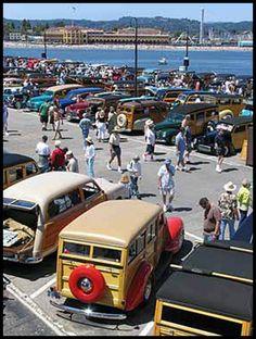 Woodies on the Wharf - Santa Cruz, CA Wooden Car, Wooden Boats, Santa Cruz Pier, Vintage Cars, Antique Cars, Surf Rods, Woody Wagon, California Surf, Surfs