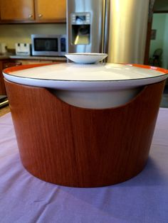 White & Orange Casserole Dish by Servex // Lid and Teak Sleeve // Catherine Holm style by ModernaireMCMStudios on Etsy