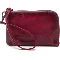 Frye Melissa Wristlet ($99) ❤ liked on Polyvore featuring bags, handbags, clutches, burgundy, wristlet purse, leather purse, burgundy purse, frye handbags i leather handbags