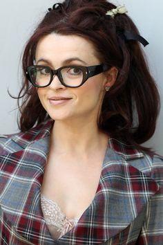 Helena Bonham Carter in thick rimmed glasses.