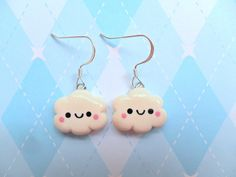 Cute Polymer Clay Charms | Kawaii Cloud Earrings Polymer Clay Cute Earrings by JollyCharms