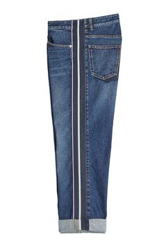 Sporty stripes breathe contemporary impact into these cuffed blue boyfriend jeans from Alexander McQueen. A cool alternative to regular styles, we love them dressed up and down. Altering Jeans, Diy Clothes, Clothes For Women, Skater Girl Outfits, Denim Ideas, Patched Jeans, Recycle Jeans, Boyfriend Jeans, Vaqueros Boyfriend
