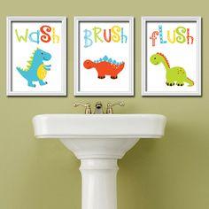 Colorful Dinosaur Bath Wash Brush Flush Bathroom Artwork Set of 3 Trio Prints WALL Decor Kid Children ART Picture Shower Curtain Match