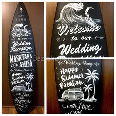 いいね!10件、コメント1件 ― 3sz chalkart/わかい みすずさん(@chalkart3sz)のInstagramアカウント: 「Happy Wedding お客様の使わなくなったサーフボードをウェルカムボードに✍…」
