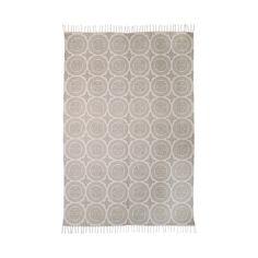 Alfombra alargada de algodón en color crema, 140 x 200 cm