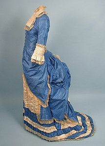 French Blue Silk Bustle Dress & Hat, Mid 1870s
