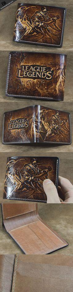 Handmade League of Legends LOL JAX carved leather custom short wallet | EverHandmade