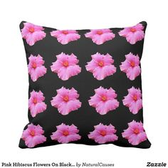 Pink Hibiscus Flowers On Black, Throw Cushion. Throw Pillow