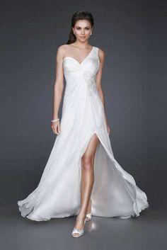 Classic Ivory One Shoulder Bridal Long Dresses with Front Slit