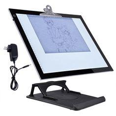 "19"" LED Light Board Pad Stencil Drawing Tracing Table Box"