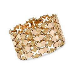 "Ross-Simons - C. 1960. Vintage 18kt Rose Gold Flexible Wide Band Bracelet. 7.5"" - #537298"