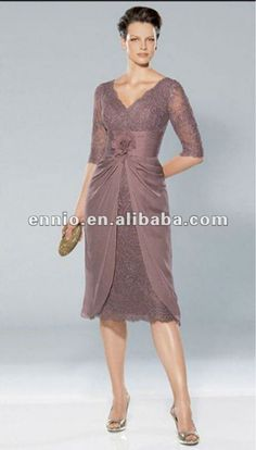 Hot Selling 2012 Fashion Tea Length Half Sleeve Lace Mother Of the Bride Woman Dresses MD1055