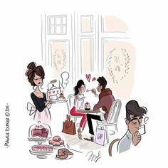 Love in a Tea Room / Amore in una sala da Té - Art by Magalie Foutrier