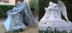 This is a static prop of a weeping angel based on a real monument design. This is a popular cemetery monument look that we wanted to duplicate. The prop consists of a wood base covered in foam and a chicken wire and wood body covered in monster mud sheets with a foam head, arms, and carved foam wings. The hair is done with paper towels and monster mud. The entire prop is painted with exterior latex house paint (black base coat with light and dark grey detail painting)...