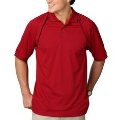 Men's Short Sleeve Moisture Wicking Polo Shirt w/ Contrast Piping