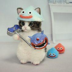 猫魔王と戦う為に、仲間を連れて来た#羊毛#羊毛フェルト#ハンドメイド#cat#猫#felting#felt#needlfelt#ドラクエ#キジ白