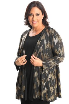 Vikki Vi Jersey Glitz Swing Cardigan A great plus size piece for your holiday party.