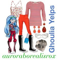 To complete: red striped longsleeve Funky Outfits, Gothic Outfits, Monster High Clothes, Cartoon Outfits, Red Pants, Halloween Town, Red Stripes, Autumn Winter Fashion, Inspired Outfits