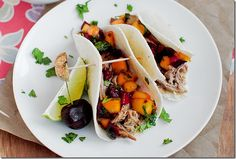 pulled pork tacos with peach/cherry salsa..sounds yummy and easy to make!