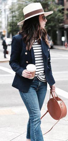 hat + blazer + stripped top + bag + jeans