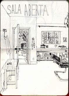 Urban Sketchers: In my living room Interior Design Institute, Best Home Interior Design, Interior Sketch, Scandinavian Interior Design, Contemporary Interior, Sketchbook Drawings, Sketchbook Pages, Pen Drawings, Sketches