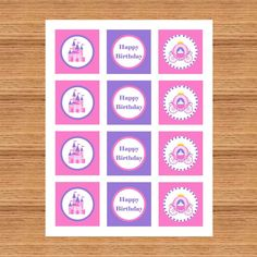 Princess Cupcake toppers Gift tags Birthday   by LexiekinPrints