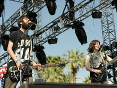 Patrick Stickles and Amy Klein of Titus Andronicus perform during Day 1 of the Coachella Valley Music & Arts Festival 2011 held at the Empire Polo Club  #Day1 #Coachella #TitusAndronicus #2011