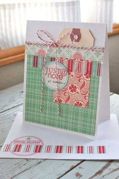 October Afternoon card- really like how the manila tag was used, along with the washi tape.