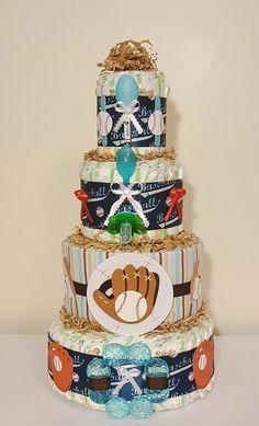 Baseball sports diaper cake
