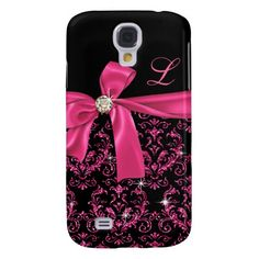 Elegant Black Pink Damask Diamond Bow Monogram Samsung Galaxy S4 Cover. Lay