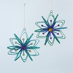 """Pack of 12 Regal Peacock Snowflake with Gem Center Christmas Ornaments 4.5"""""""