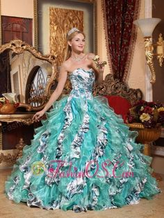 Romantic Multi-color Quinceanera Dress Ball Gown Sweetheart Organza Printing Ball Gown  http://www.fashionos.com  Fabulous and elegant! The sweetheart neckline dress in beight aqua makes you be the lightspot at your party. It features fashionable printed fabric full covered the bodice. Diagonal ruffles in contrasting layers of printed fabric and organza which gives the skirt a full look.Still hesitate? Take it home!