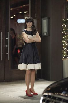 "Jess' (Zooey Deschanel) black and white dress from the ""Fancyman Part 2"" episode of NEW GIRL on FOX."
