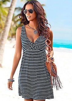 V-neck stripe dress in the VENUS Line of Dresses for Women