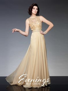 Evenings - TBE21529 - Sleeveless gown with bateau neckline, beaded bodice, sheer beaded back and chiffon skirt with front and back center gathers.Sizes: 0-24Colors: Champagne