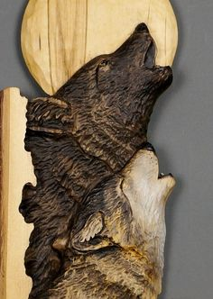 Wolf Carved on Wood Wood Carving Linden Tree with by DavydovArt