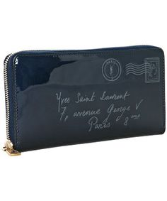 Yves Saint Laurent : marine patent leather 'Y-Mail' zip continental wallet : style # 313109601