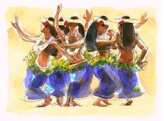 Five Cook Islands Action Song Dancers, Print 42