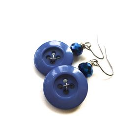 Blue Button Earrings - Repurposed Vintage Button Jewelry by buttonsoupjewelry, $8.00