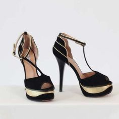 Black and Gold T-Strap Heels-- I think these are gorgeous