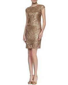 90c3fd15c31 Kay Unger New York Lace Mesh Embroidered Cocktail Dress