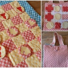 Carry Around Chess Set, with noughts and crosses on the back and pocket for the pieces, made with Riley Blake Sasparilla flannels.